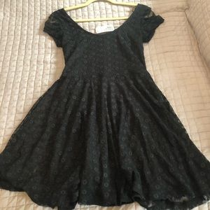 Short black fit and flare dress